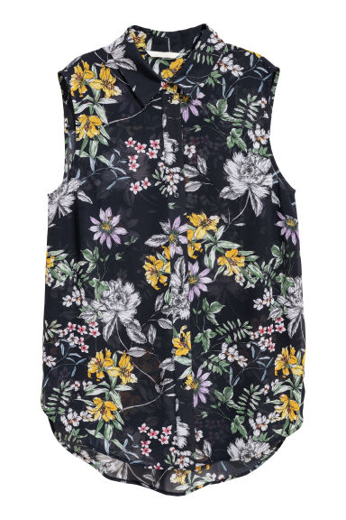 Sleeveless blouse - Dark blue/Floral - Ladies | H&M GB