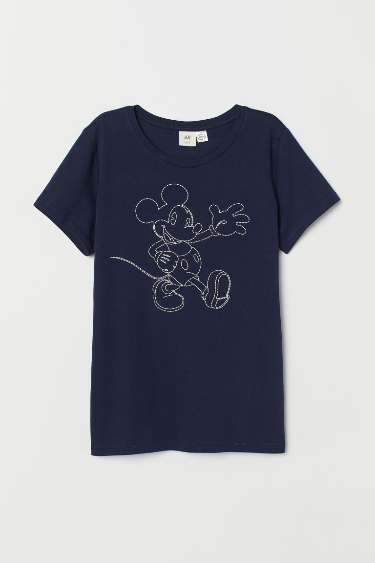 T-shirt met motief - Donkerblauw/Mickey Mouse - DAMES | H&M BE