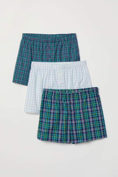 3-pack woven boxer shorts - Green/Checked - Men | H&M IN