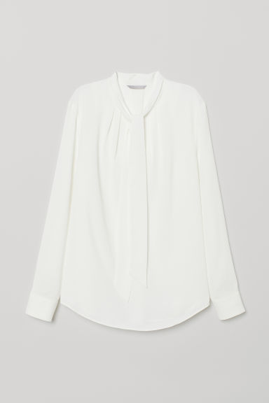 Camicetta con colletto e nodo - Bianco - DONNA | H&M IT