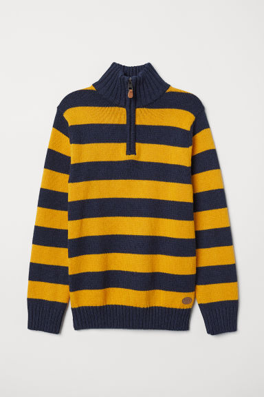 Knitted jumper with a collar - Dark blue/Yellow striped - Kids | H&M CN