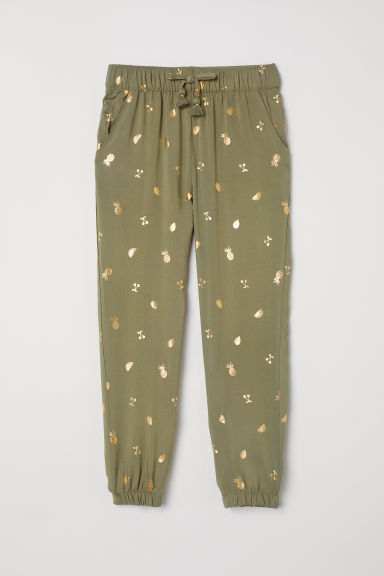 Patterned pull-on trousers - Khaki green/Patterned -  | H&M