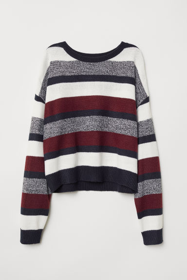Knitted jumper - Burgundy/Multistriped -  | H&M