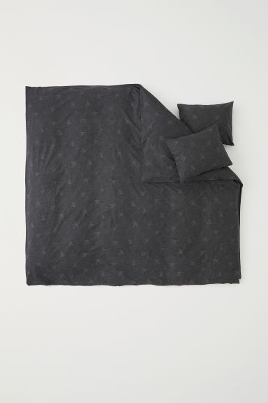 Patterned duvet cover set - Dark grey/Patterned - Home All | H&M CN
