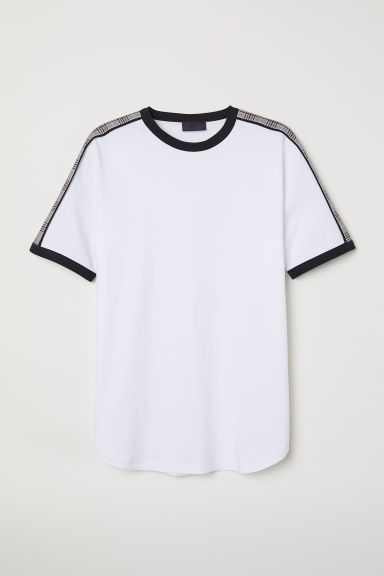 T-shirt with checked trims - White - Men | H&M CN