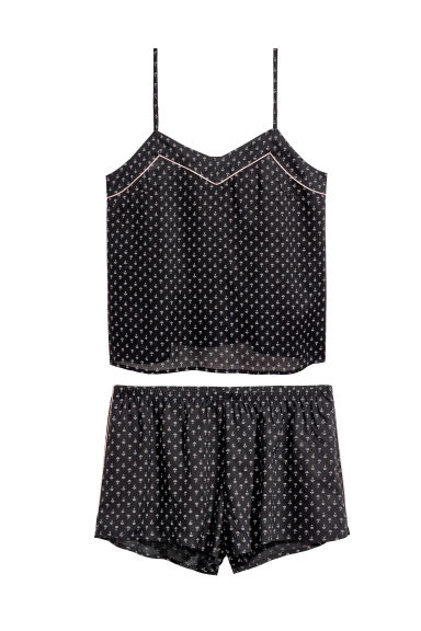 Pyjama top and shorts - Black/Patterned -  | H&M