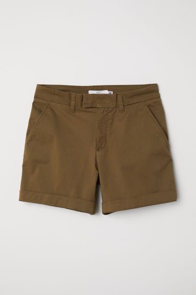 Short chino shorts - Dark khaki green - Ladies | H&M