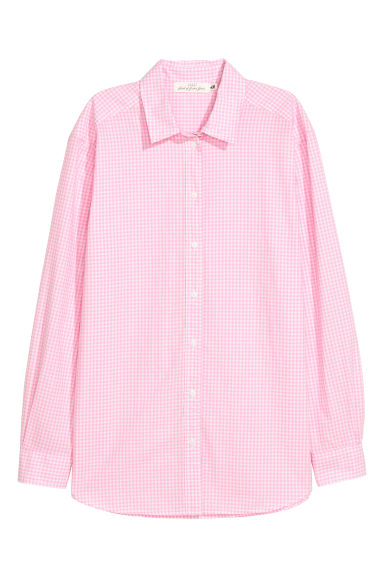 Cotton shirt - Light pink/White checked - Ladies | H&M