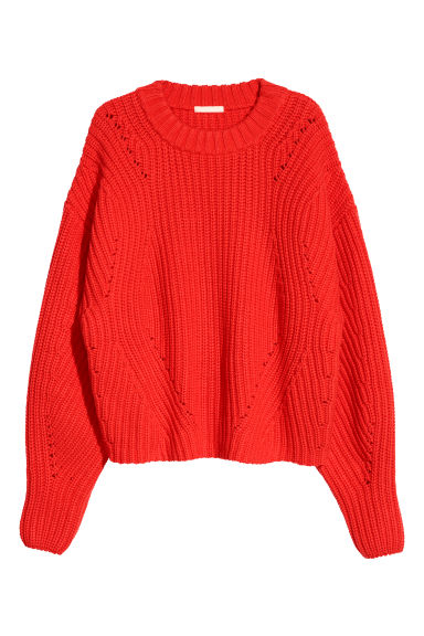 Knitted jumper - Bright red -  | H&M