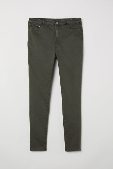 H&M+ High Waist Jeggings - Dark khaki green - Ladies | H&M CN