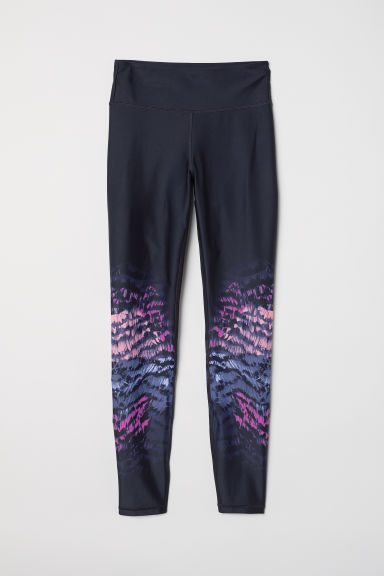 Sports tights Shaping Waist - Black/Purple patterned - Ladies | H&M