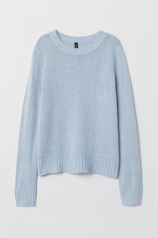 Stickad tröja - Ljus blåmelerad - | H&M SE 1