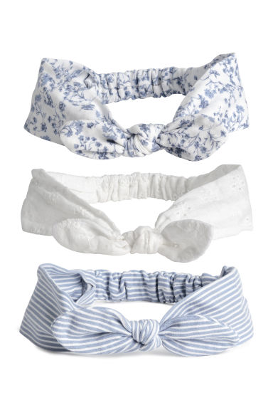 3-pack hairbands - Light blue/Patterned -  | H&M