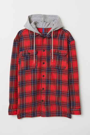 Hooded flannel shirt - Red/Checked - Men | H&M CN