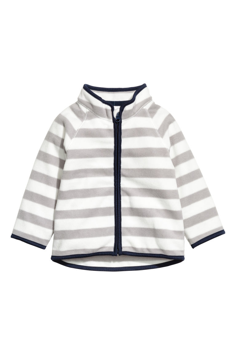 Fleece jacket - Grey/White striped - Kids | H&M CN
