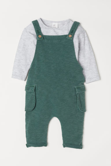 Dungarees and top - Green/Light grey - Kids | H&M