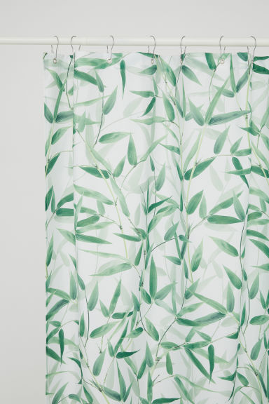 Photo print shower curtain - White/Leaf-patterned -  | H&M IE