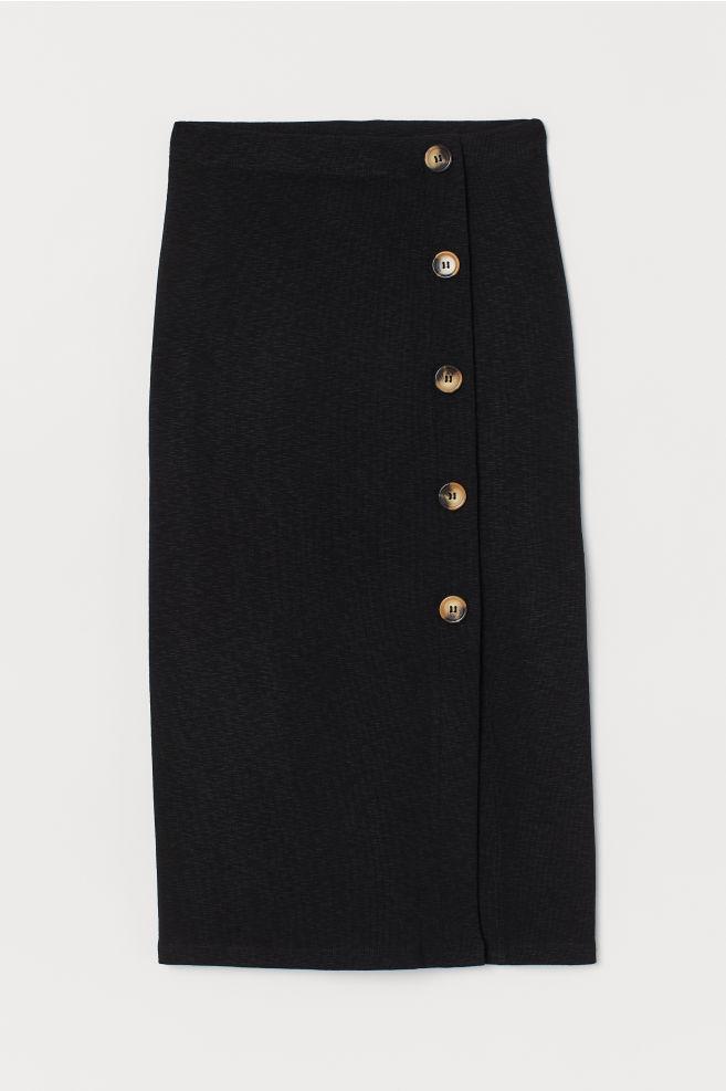 b61a8938c ... Slub Jersey Pencil Skirt - Black - Ladies | H&M ...