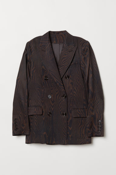 Double-breasted jacket - Dark brown/Patterned -  | H&M