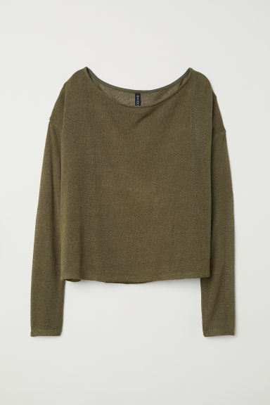 Fine-knit jumper - Olive green - Ladies | H&M CN