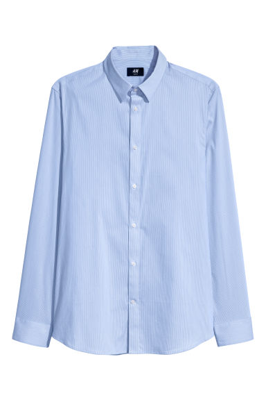 Stretch shirt Slim fit - Light blue/White striped -  | H&M