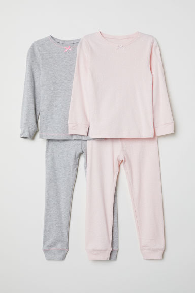 2-pack jersey pyjamas - Light pink/Grey - Kids | H&M