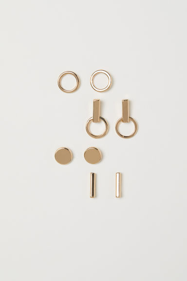4 Pairs Stud Earrings - Gold-colored - Ladies | H&M US