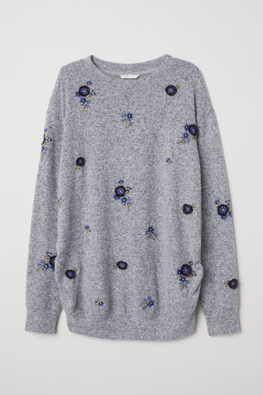 MAMA top with embroidery - Grey marl/Flowers - Ladies | H&M CN
