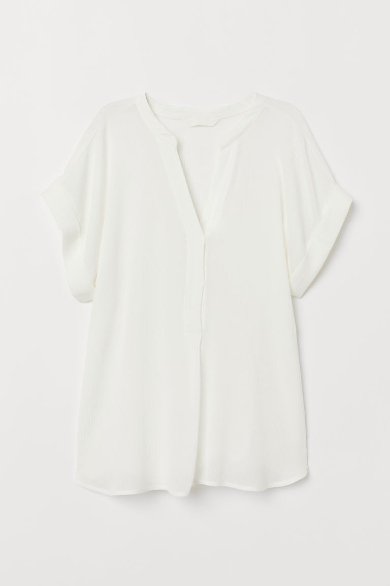 Gecrinkelte Bluse - Weiß - Ladies | H&M AT