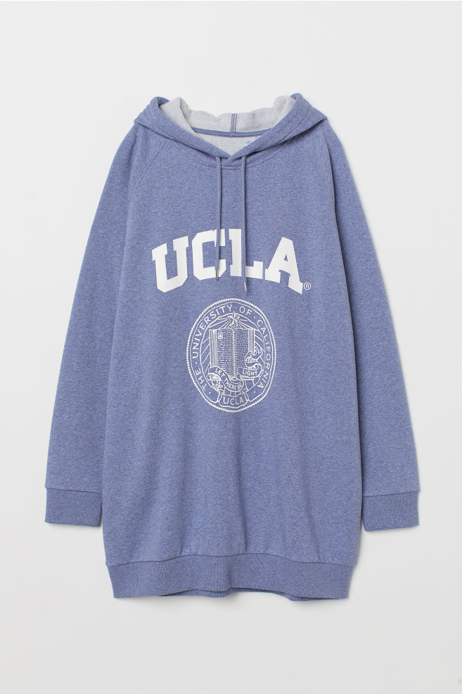 ed309c36 Long Hooded Sweatshirt - Blue melange/UCLA - Ladies | H&M ...