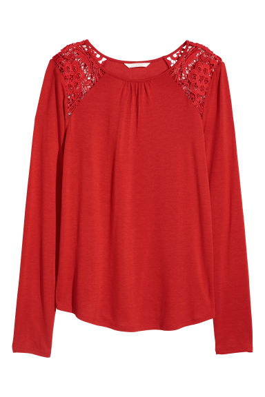 Long-sleeved top with lace - Bright red -  | H&M CN