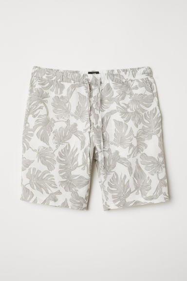 Linnen short - Relaxed fit - Wit/bladdessin - HEREN | H&M BE