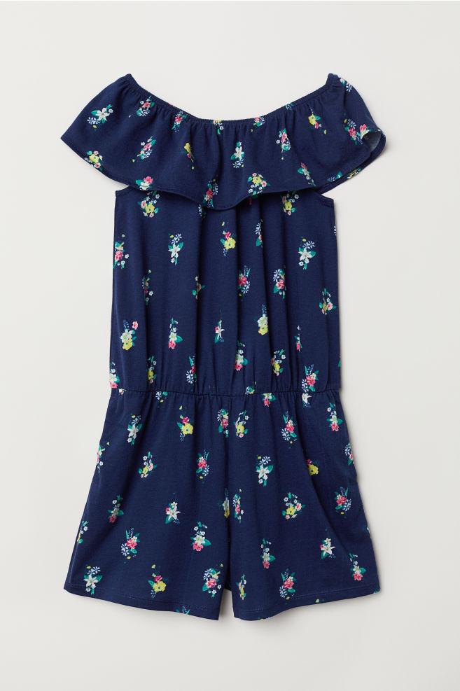 f4c55a24a116 Off-the-shoulder playsuit - Dark blue/Flowers - Kids | H&M GB