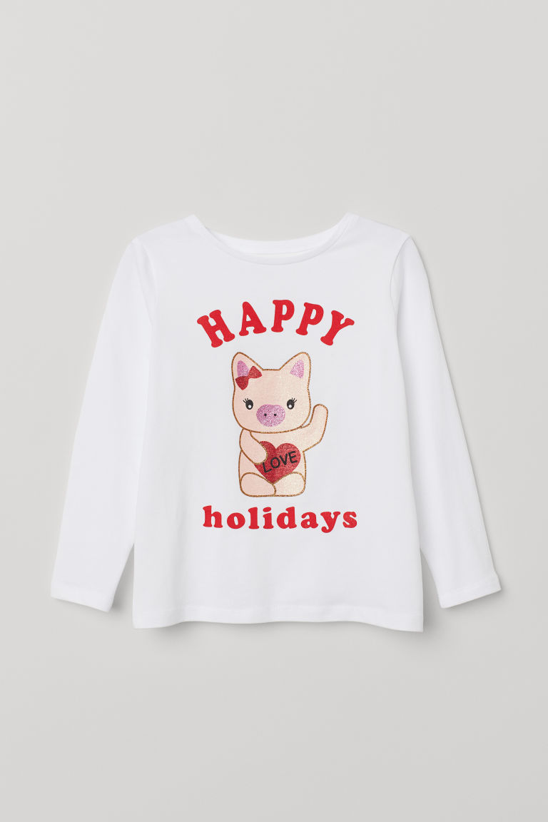 Printed top - Natural white/Happy Holidays - Kids | H&M CN