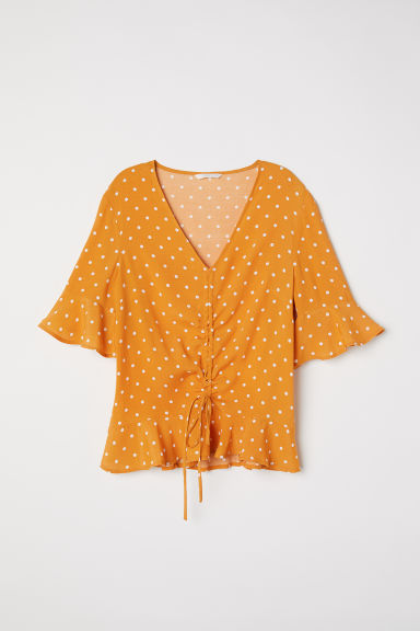 Drawstring blouse - Mustard yellow/Spotted -  | H&M