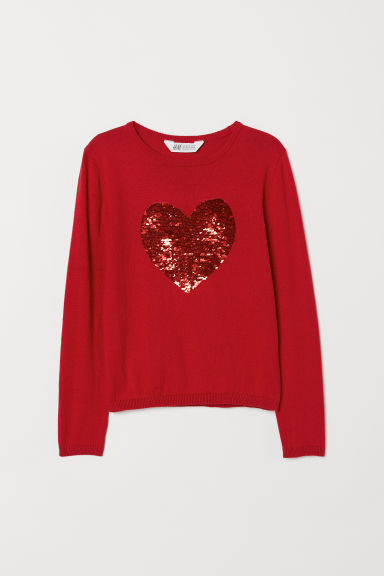 Jumper with sequins - Red/Heart - Kids | H&M