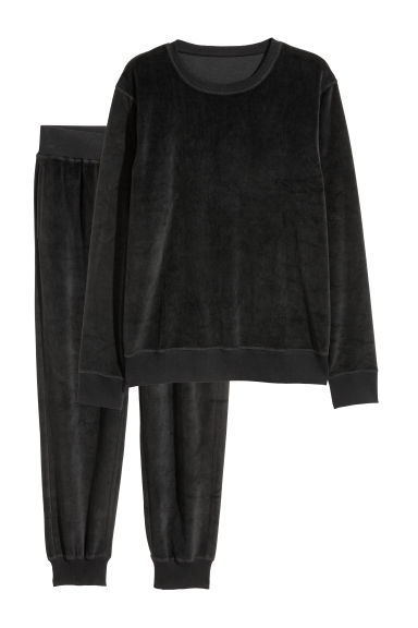 Velour pyjamas - Black -  | H&M CN
