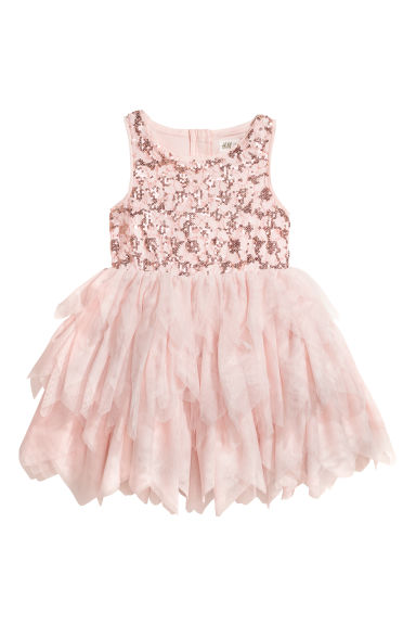 Sequined tulle dress - Powder pink/Sequins -  | H&M