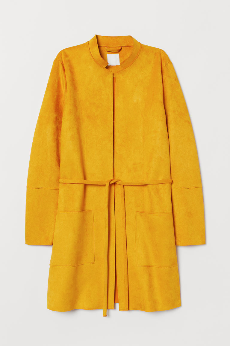Faux Suede Coat - Dark yellow - Ladies | H&M US