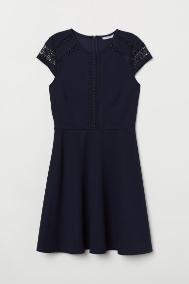 Dress with lace insets - Dark blue - Ladies | H&M