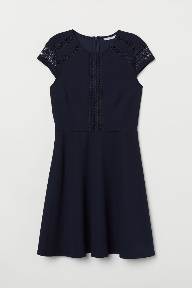 550a518c79882 Dress with Lace Inserts - Dark blue - Ladies | H&M ...