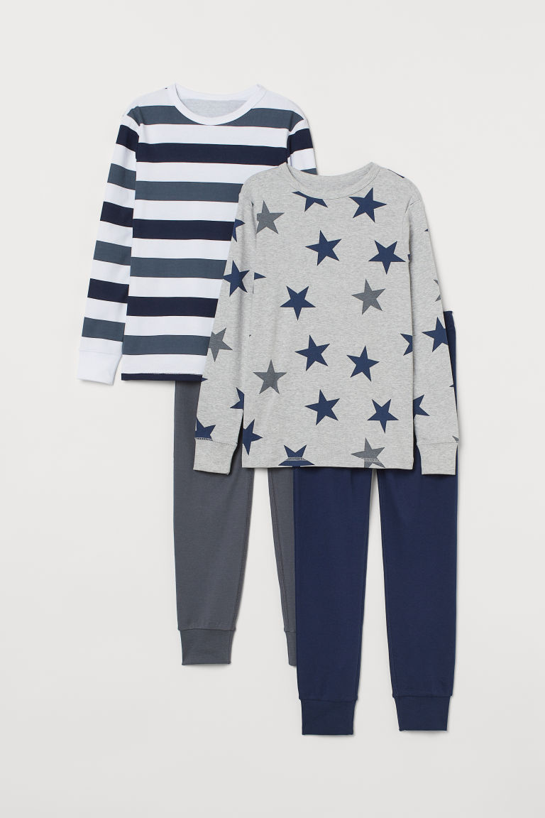 2-pack jersey pyjamas - Grey marl/Stars - Kids | H&M