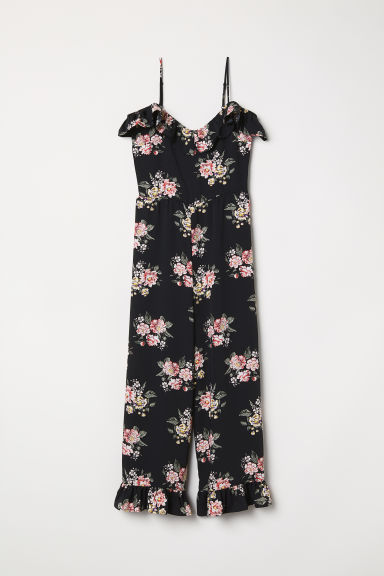 Cold-shoulderjumpsuit - Zwart/bloemen - DAMES | H&M BE
