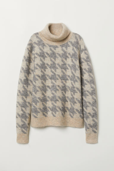 Knitted polo-neck jumper - Beige/Light grey - Ladies | H&M