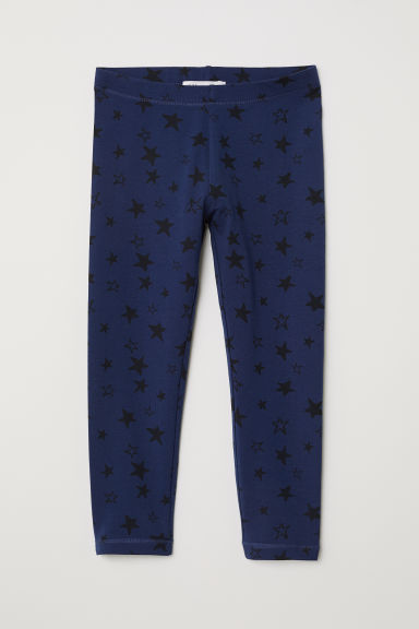 3/4-length leggings - Dark blue/Stars - Kids | H&M