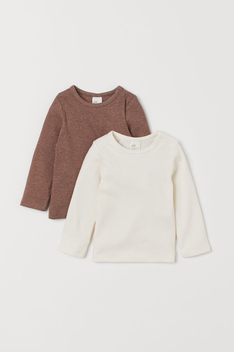 2-pack tops - Natural white/Brown marl -  | H&M