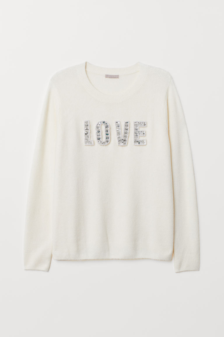 H&M Jumper with beads - Natural white/Love - Ladies | H&M