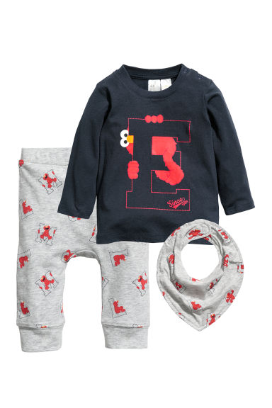 3-delige tricot set - Donkerblauw/Ernie - KINDEREN | H&M BE
