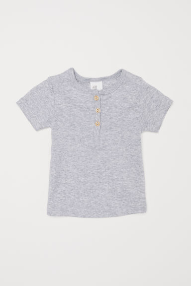 T-shirt with buttons - Light grey - Kids | H&M CN