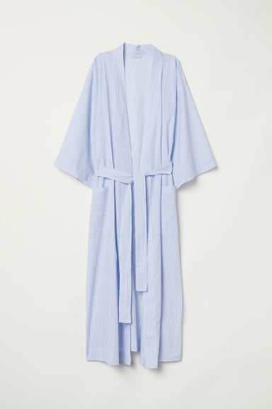Cotton dressing gown - Light blue/White striped - Ladies | H&M